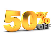 Fifty percent discount. 3d illustration of fifty percent discount sign, over white background Royalty Free Stock Images