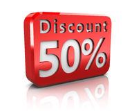Fifty percent discount. Abstract 3d illustration of 50 percent discount sign Royalty Free Stock Photos