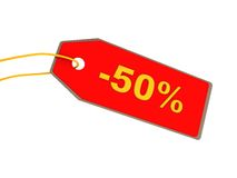Fifty percent discount. 3d illustration of red ticket with fifty percents discount Stock Image