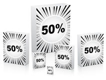 Fifty percent discount on boxes. Vector illustration Royalty Free Stock Photography