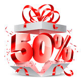 Fifty Percent Discount Gift. Opened gift box with 50 percent discount gift Stock Photo