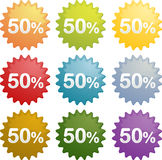 Fifty percent discount symbol. Fifty percent discount sale emblem seal symbol different colors Royalty Free Stock Image
