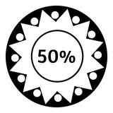 Fifty percent download icon, simple style. Fifty percent download icon. Simple illustration of fifty percent download vector icon for web Stock Image