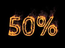 Fifty percent 50%. Fiery numerals with smoke. 3d rendering. Digital illustration. Fiery numerals with smoke on black background Royalty Free Stock Image