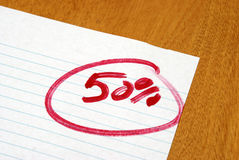 Fifty Percent. A graded paper letting the student know of their fifty percent marks Stock Photo