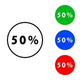 Fifty percent icon. Illustration. flat and outline style Royalty Free Stock Photography