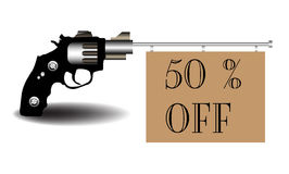 Fifty percent off. Abstract colorful illustration with a revolver shooting out a brown flag on which is written fifty percent off Stock Photos