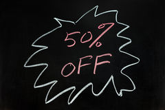 Fifty percent off. Chalk drawing - Fifty percent off Stock Photos