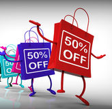 Fifty-Percent Off Bags Show Sales and 50 Discounts. Fifty-Percent Off Bags Shows Sales and 50 Discounts Stock Photography
