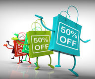 Fifty-Percent Off Bags Show Sales, Bargains, and Discounts. Fifty-Percent Off Bags Showing Sales, Bargains, and Discounts Royalty Free Stock Images