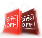 Fifty Percent Off On Bags Shows 50 Bargains Stock Images