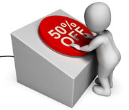Fifty Percent Off Button Means Half-Price Bargain. Fifty Percent Off Button Meaning Half-Price Bargain Stock Photo