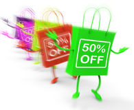 Fifty Percent Off On Colored Bags Show Bargains. Fifty Percent Off On Colored Bags Showing Bargains Stock Photo