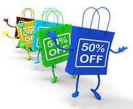 Fifty Percent Off On Colored Shopping Bags. Showing Bargains Stock Photo