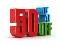 Fifty percent off. This is a computer generated and 3d rendered picture Stock Photo