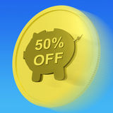 Fifty Percent Off Gold Coin Shows 50 Half-Price Deal. Fifty Percent Off Gold Coin Showing 50 Half-Price Deal Royalty Free Stock Photos