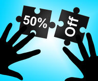 Fifty Percent Off Indicates Cheap Discounts And Promotion Royalty Free Stock Images