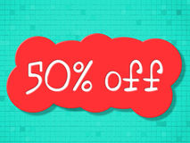 Fifty Percent Off Indicates Savings Cheap And Promo Stock Images