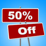 Fifty Percent Off Indicates Sign Closeout And Signboard. Fifty Percent Off Showing Clearance Reduction And Cheap Royalty Free Stock Images