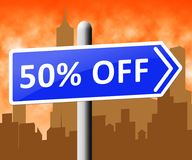 Fifty Percent Off Indicating Half Price 3d Rendering. Fifty Percent Off Sign Indicating Half Price 3d Rendering Stock Image