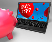 Fifty Percent Off Laptop Means 50 Half-Price Savings. Fifty Percent Off Laptop Meaning 50 Half-Price Savings Stock Image
