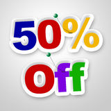 Fifty Percent Off Means Sale Promo And Discounts. Fifty Percent Off Indicating Merchandise Promotional And Promotion Stock Image