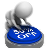 Fifty Percent Off Pressed Means Half-Price Product Or Service Royalty Free Stock Photography