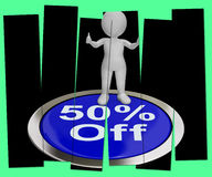 Fifty Percent Off Pressed Shows 50 Price Markdown Stock Photo