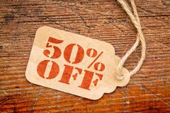 Fifty percent off price tag Stock Photo