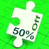 Fifty Percent Off Puzzle Means Discount Or Sale. Fifty Percent Off Puzzle Meaning Discount Or Sale 50%i Stock Image