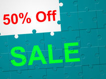 Fifty Percent Off Represents Clearance Offer And Promotional Stock Photo
