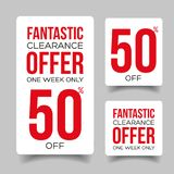 Fifty percent off sale offer tag. Vector Stock Image