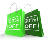 Fifty Percent Off On Shopping Bags Shows 50 Bargains. Fifty Percent Off On Shopping Bags Show 50 Bargains Stock Image