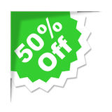 Fifty Percent Off Shows Retail Discounts And Clearance Royalty Free Stock Photos