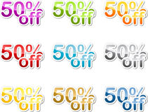 Fifty percent off sticker. Fifty percent off sales reduction marketing announcement sticker Royalty Free Stock Photo