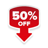 Fifty percent off sticker with arrow. Vector Royalty Free Stock Photo