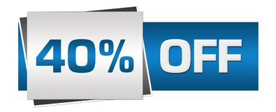 Discount Forty Percent Blue Grey Horizontal. Fifty percent off text written over blue grey background Stock Photos