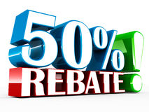 Fifty percent rebate. 50% rebate or off shown on white background, concept of price drop and heavy discount on sales and store items Royalty Free Stock Images