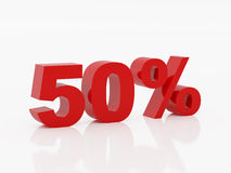 Fifty percent of red color. High resolution fifty percent. 3d illustration over  white backgrounds Stock Photo