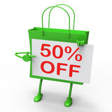 Fifty Percent Reduced On Shopping Bags Royalty Free Stock Photo