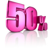 Fifty Percent Sign. Pink fifty percent sign isolated on white background. 3d rendering Stock Photos