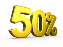 Fifty percent symbol on white background. 3D Stock Image