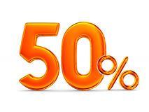 Fifty percent on white background.  3D illustration.  Royalty Free Stock Photo