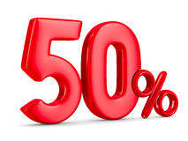 Fifty percent on white background. Isolated 3D. Illustration Royalty Free Stock Image