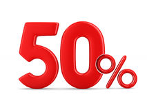 Fifty percent on white background. Isolated 3D illustration.  Stock Images