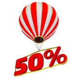 Fifty percentage flies in a hot air balloon. Isolated. 3D Illustration Royalty Free Stock Photos