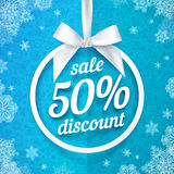 Fifty percents Christmas sale discount white Royalty Free Stock Image