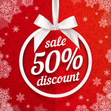 Fifty percents Christmas sale discount white Royalty Free Stock Images