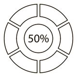 Fifty percents diagram infographics, outline style Stock Photography
