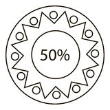 Fifty percents infographics, outline style Stock Image